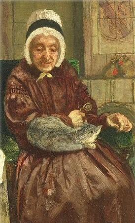 August_Allebe oude vrouw met haar kat